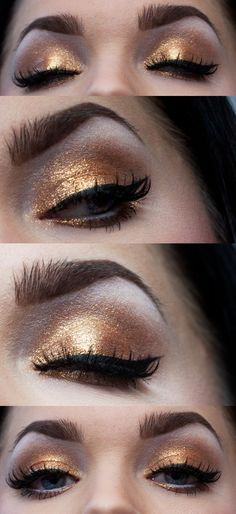 Smokey gold eyes makeup.
