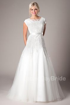 Modest Wedding Dresses : Melville Neck and sleeve length can be customized