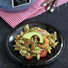 Shrimp, Corn & California Avocado Pasta Salad | cookincanuck.com #salad #pasta #avocado