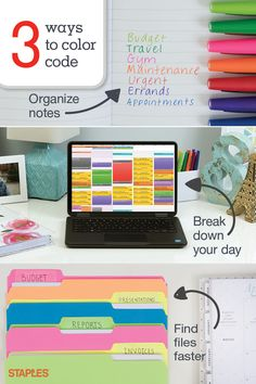 Color helps us remember. Use these easy color-coding tricks to help you keep track of your to-do's, meetings and paper work. Organizing Paperwork, Clutter Organization, Home Office Organization, Paper Organization, Organizing Tips, Receipt Organization, Household Organization, Planner Stickers, Planners