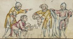 Dice, Gambling ~ SBS Gen. 8 Klosterneuburger Evangelienwerk ~ 1340 ~ Austria ~ Schaffhausen Stadtbibliothek ~ Miniature object
