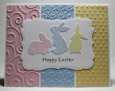 #papercraft #Easter #card. Pastel Bunnies by grannytranny  Stamps: SU (Ears to You), MFT (One Sweet Chick) sentiment