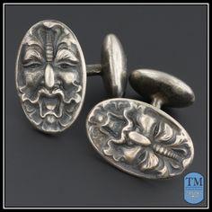 Antique Art Nouveau Sterling Silver Green Man Gargoyle Cufflinks
