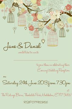 25 Personalised Vintage Wedding Invitations Evening Invites butterfly birdcage 1
