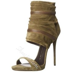 Shoespie Slouchy Zipper Decoration Suede Stiletto Heel Sandals