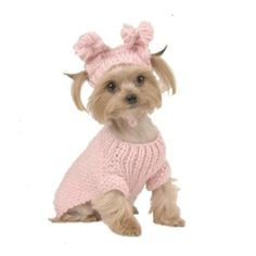 Max's Closet Light Pink Bobble/Rosette Cable Sweater with Hat, Large, Size 16
