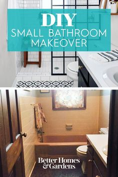 This DIY black and white bathroom remodel features a new doorless shower, and redone tile. #bathroomremodel #bathroomideas #blackandwhitebathroom #walkinshower #bhg Pink Tub, Old Sink, Black White Bathrooms, Old Cabinets, Shower Panels, Vinyl Tiles, Walk In Shower, Better Homes And Gardens, Small Bathroom