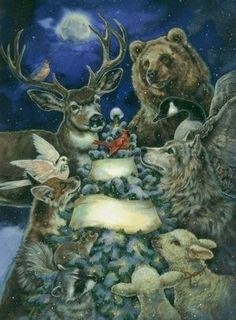 Christmas Scenes, Christmas Animals, Christmas Pictures, Christmas Art, Winter Christmas, Vintage Christmas, Illustration Noel, Christmas Illustration, Illustrations