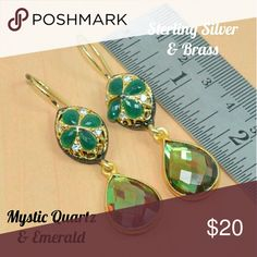 """🌹Emerald Mystic Quartz Sterling Brass Earrings 🌹I'm currently running an additional sale. See listing at the top of my closet for details.🌹  **PRICE FIRM UNLESS BUNDLED!**  These are new. They're sterling silver & brass w/genuine Mystic Quartz & Emerald. They're approximately 2.3"""" long & 10.4 grams. I'll be taking more pics and posting them soon.  Please ask if I haven't posted them yet and you'd like to see them.  This is handmade, so it's not perfect. Please look at the pics carefully…"""