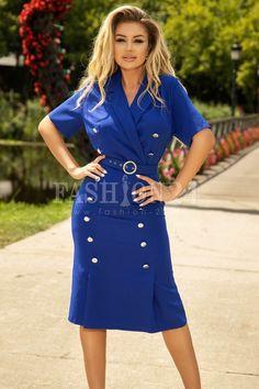 Rochie albastra accesorizata cu nasturi Cardigan, Shirt Dress, Shirts, Dresses, Fashion, Cots, Shirtdress, Gowns, Moda