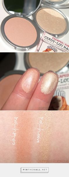 Review and swatches of theBalm's Mary-Lou Manizer (champagne highlighter, shimmer and shadow) & Cindy-Lou Manizer (rose gold highlighter, shimmer and shadow).