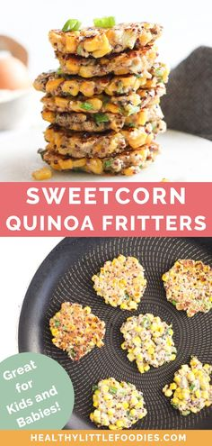 These sweetcorn fritters are a great finger food for kids and toddlers Delicious hot or cold theres kid friendly vegetable fritters are so versatile Enjoy them at breakfa. Dairy Free Eggs, Dairy Free Recipes, Baby Food Recipes, Egg Free, Gluten Free, Corn Fritters Healthy, Sweet Corn Fritters, Easy Kid Friendly Dinners, Finger Foods For Kids