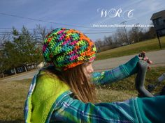 Neon Slouchy Hat Slouchy Beanie  sized 2-5 yers by WhisperingRainC
