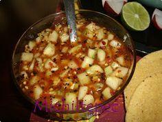 Salsa de pepino, it pairs well with posole, yummy Sauce Recipes, New Recipes, Vegan Recipes, Cooking Recipes, Favorite Recipes, Recipies, Cooking Ideas, Sweet Recipes, Mexican Salsa Recipes