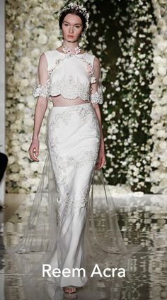Silk georgette crop top wedding dress with siren skirt and embroidered tulle train, Reem Acra