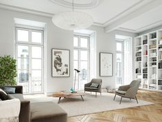 Rendering of Architecture - Project - Interior architectural visualizations of a building in Lisbon Rendering of Architecture - Project - Interior architectural visualizations of a building in Lisbon Rendering Interior, Home Interior Design, Interior Architecture, Interior Paint, Classic Interior, Modern Interior, Nordic Interior, Vogue Home, Commercial Architecture