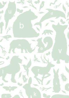 KEK Amsterdam Behang groen/wit Alfabet Beestjes 8,3mx47,5cm 4m² - wonenmetlef.nl