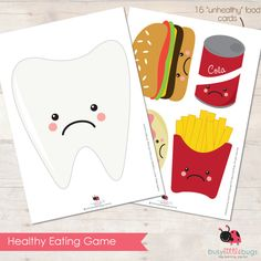 Healthy Eating unhealthy food cards