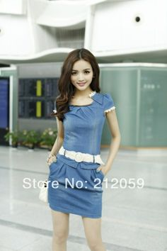 d2fe26fb58 Casual Cap Sleeve Lace Embellished Jeans Dress For Women