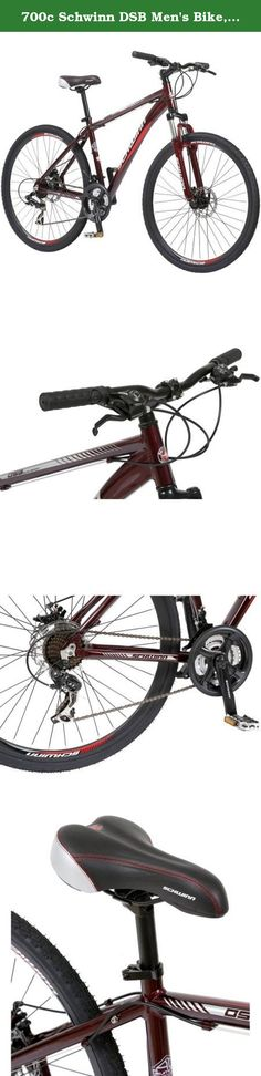 700c Schwinn DSB Men's Bike, Oxblood, 21-speed EZ Fire Trigger shifters with Shimano rear derailleur. The Schwinn DSB like all Schwinn bikes comes with a lifetime warranty for as long as you own the bike. The DSB stands for dual-sport bike. This is a bike that can't make up its mind. Today it is a road bike, tomorrow it is a sport bike the next day it is ride with the family bike. Anyway you play it the DSB is the perfect bike for everyday riding. It has an aluminum dual sport frame with…