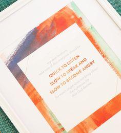 Bible Verse Art Print - Quick to Listen Slow to Speak - 8.5x11