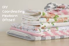DIY Coordinating Newborn gift set! So cute and includes tutorials for all of it: 3 giant jersey swaddles, 3 matching newborn knotted headbands, and three large and absorbent burp cloths.