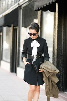 Fall Ready :: Bow shirtdress & Olive trench