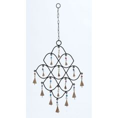 beaded wind chimes   Metal Bead Wind Chime with Colorful Beads