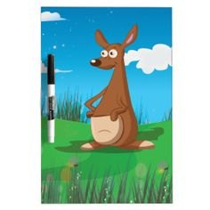 Cartoon Kangaroo in the Australian outback Dry-Erase Board