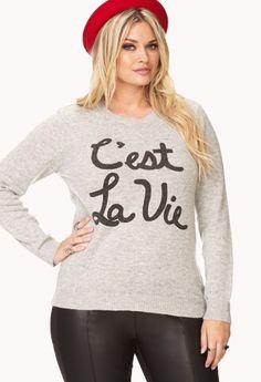Parisian Chic C'est La Vie Sweater by Forever21 Plus Size