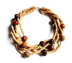 Vintage Natural Wood Torsade Necklace Heshi by ReneeMaeVintage, $11.00