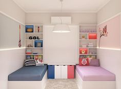 Idéias para quartos de irmãos menino e menina que dormem juntos