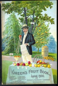 Vintage seed catalogue: Greens Fruit Book, Spring 1900. I love the dapper gent with the pears in a barrel behind him