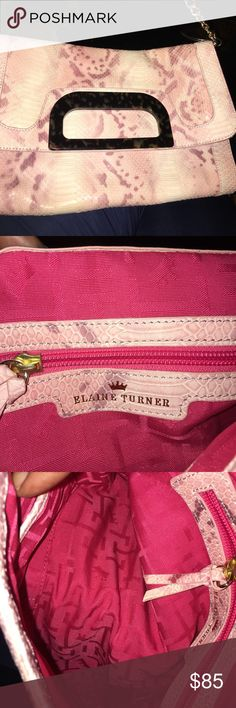 Elaine Turner snakeskin clutch! Elaine Turner snakeskin clutch, soft cream and pink, tortoiseshell detail closure, comes with shoulder chain ($28), perfect condition!  Truly high end style Elaine Turner Bags Clutches & Wristlets