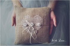 Jute Wedding Ring Pillow - Vintage-inspired details are definitely great!
