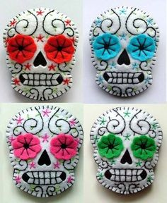 "Sugar Skull Felt brooches. Dia de los Muertos! Oct 26-27 & Nov 2-3 ""Day of the Dead"" at the Kansas Children's Discovery Center. www.kansasdiscovery.org"