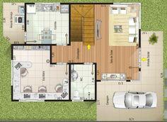 0012 Plano de casa Moderna, 133M2, 3 Dormitorios y 2 Pisos.El plano del primer piso a continuación, donde se pueden ver ambientes espaciosos y considerando el ambiente de trabajo sin lugar a dudas esta muy bien pensada, una cocina que incluye en su interior un comedor, y un amplio living hacen del primer piso un nivel muy bien pensado.