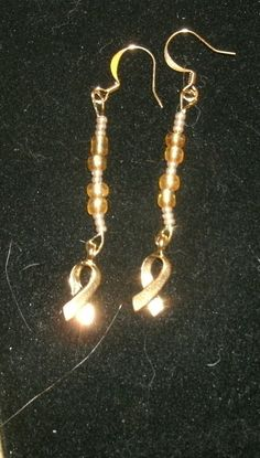 Gold Cancer Awareness Ribbon Earrings for Childhood Cancer (and other awareness)