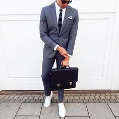 suit & #sneakers by @_____phil [ http://ift.tt/1f8LY65 ] -------- Follow @royalfashionistwatches