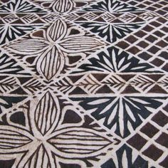 Samoan Tapa Cloth with Traditional Flower Patterns design.