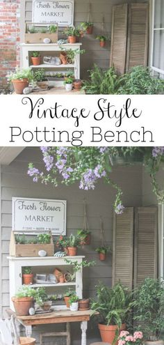 Outdoor Decorating/Gardening :     Learn how I created my own vintage style potting bench by using a primitive table and chippy white cabinet. I used clay pots and vintage pieces to complete the look.    -Read More –