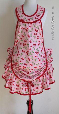 1920's Bell Ruffle Hostess Apron - Vintage Reproduction (Cherries Pink Dots) FRONT VIEW | Flickr - Photo Sharing!