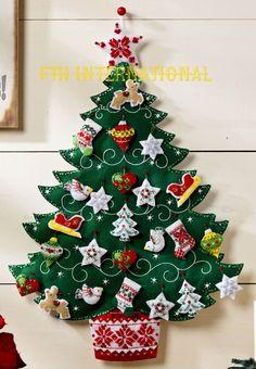Árbol de Navidad en paño lency para pegar en la pared