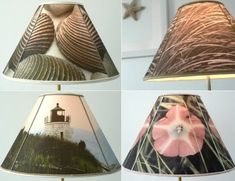 """How to Make a Lampshade with Photos to Fabric Transfers. """"Just imagine all the designs you can create with your photos. This could be a favorite beach vacation photo or a Free Printable Picture!"""" (included in link)"""
