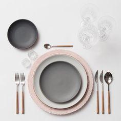 Blush Lace Chargers + Heath Ceramics in Opaque White/Indigo/Slate + Teak Flatware + Czech Crystal Stemware + Antique Crystal Salt Cellars   Casa de Perrin Design Presentation