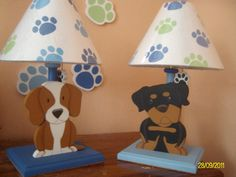 Puppies lamp for kids Arte Country, Pintura Country, Kids Lamps, Childrens Rooms, Woodworking For Kids, Kids Furniture, Decoupage, Diy And Crafts, Mary