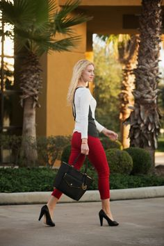 Red  cropped pants, black heels, leather detail top, black and white top, work outfit, Michael Kors bag, www.kslookbook.com