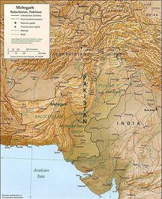 Map of Ancient Mehrgarh west of the Indus River Valley, in Balochistan, Pakistan. Mehrgarh predates the Indus Valley Civilization and may have influenced it. The earliest site is in the N.E. corner, a Neolithic and aceramic small farming and herding village made by semi-nomadic people dated to between 7000 BCE to 5500 BCE. For the first time a continuous sequence of dwelling-sites has been established from 7000 BCE to 500 BCE.