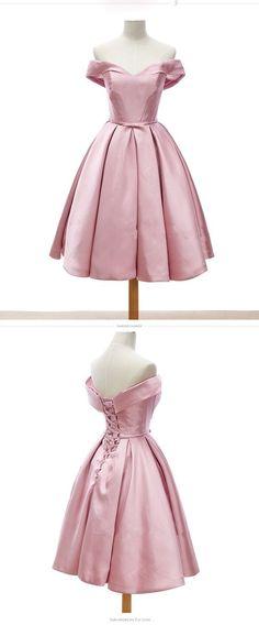 Pink Homecoming Dresses, Cheap Short Homecoming Dresses,Off the shoulder Homecoming Dress with lace