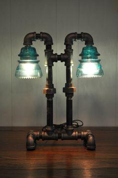 Twin Column Glass Insulator Dual Light Desk Lamp Retro-Industrial Styling